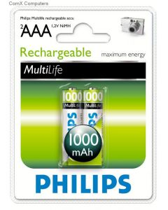 PHILIPS RECHARGEABLE BATTERY R03B2A100/97-2XAAA-1000MAH