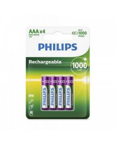 PHILIPS RECHARGEABLE BATTERY R03B4A100/97-4XAAA-1000MAH