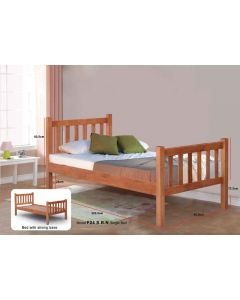 SOLID WOODEN BEDFRAME SINGLE F-24SBN-S-CHERRY