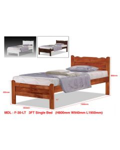 SOLID WOODEN BEDFRAME SINGLE F-30LTN-S-WHITE